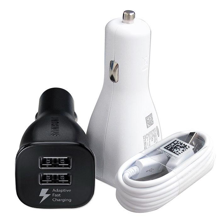 三星原廠 9V/1.67A QC2.0 雙USB快速車充組 NOTE5 NOTE4 S6 S7 Edge(平輸密封包裝)含傳輸充電線