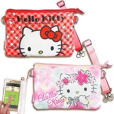 三麗鷗授權正版 Hello Kitty凱蒂貓 觸控手機肩背包(紅格/櫻花) 手拿包 手機袋