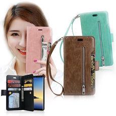 VXTRA 三星 Samsung Galaxy Note 8 法式香榭 多層次皮夾式磁力手機皮套 附吊繩 有吊飾孔