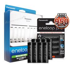 [公司貨]Panasonic 智控型8槽急速充電器+ 黑鑽款eneloop PRO 950mAh 低自放4號充電電池(8顆入)