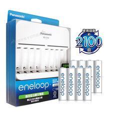[公司貨]Panasonic 智控型8槽急速充電器+ 國際牌 eneloop 低自放4號充電電池(8顆入)