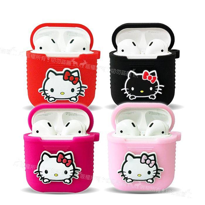SANRIO 三麗鷗授權 Hello Kitty 蘋果Apple Airpods 藍芽耳機盒保護套 1/2代通用款 凱蒂貓紅