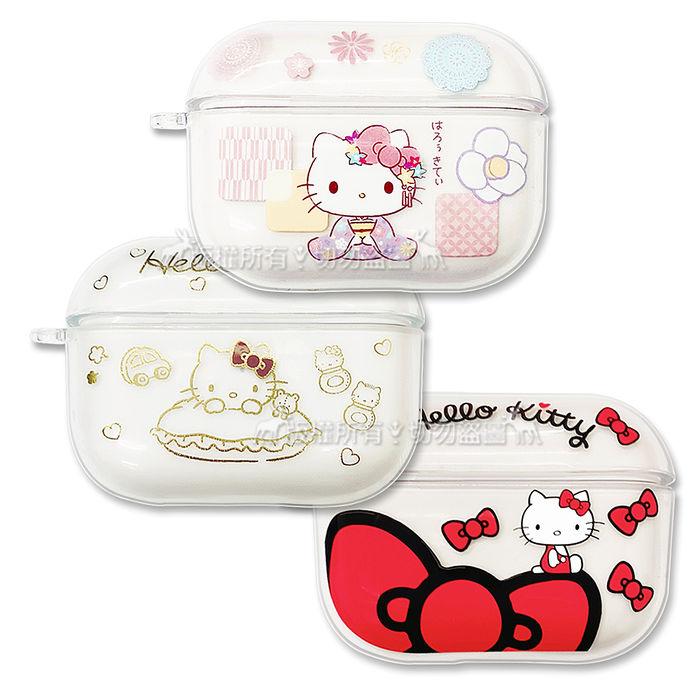 正版授權 Hello Kitty凱蒂貓 AirPods Pro TPU透明彩繪耳機盒保護套蝴蝶結