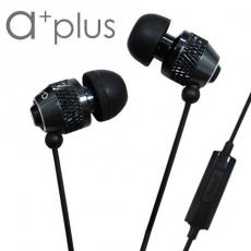 a+plus鋁合金入耳式可通話立體聲耳機-金屬黑