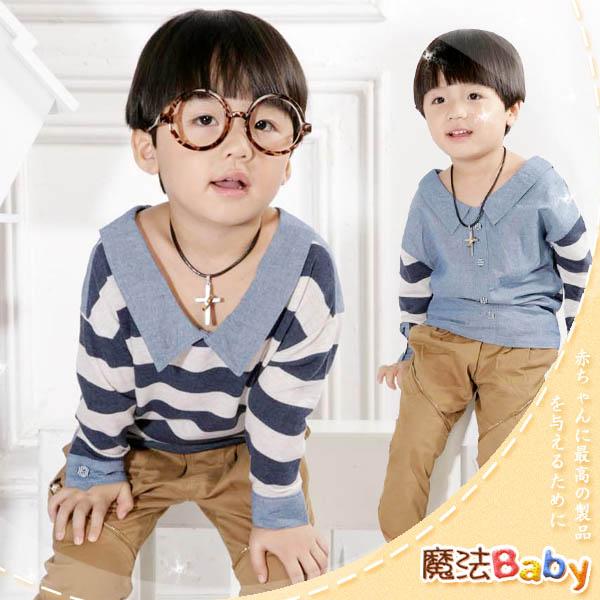 魔法Baby ~韓版兩面穿橫條紋素面款長Tee~童裝~小潮男女童裝~時尚設計童裝~k24197