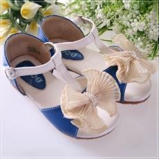 魔法Baby ~KUKI 酷奇蕾絲蝴蝶結甜美系童鞋(藍)~女童鞋~時尚設計童鞋~s4679