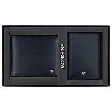 MONDAINE 瑞士國鐵黑標牛皮8卡短夾+名片夾禮盒