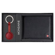 MONDAINE 瑞士國鐵9卡牛皮短夾+鑰匙圈禮盒
