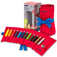 LAMY Plus兒童三合一水性蠟筆-12色/紅軟布包
