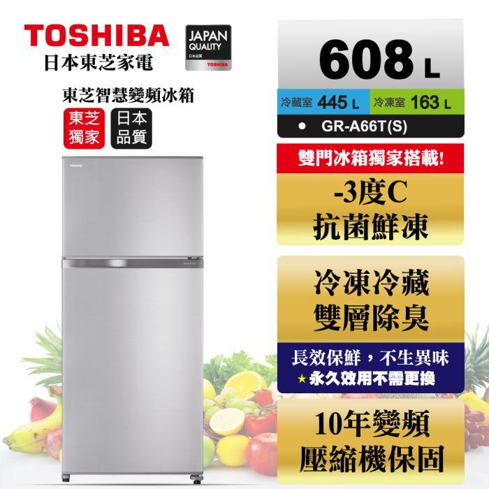 【TOSHIBA東芝】608公升一級能效雙門-3℃抗菌鮮凍極光鏡面冰箱GR-A66T (S)-能源效率一級
