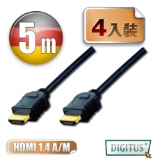 曜兆DIGITUS HDMI 1.4a圓線5公尺typeA-4入裝