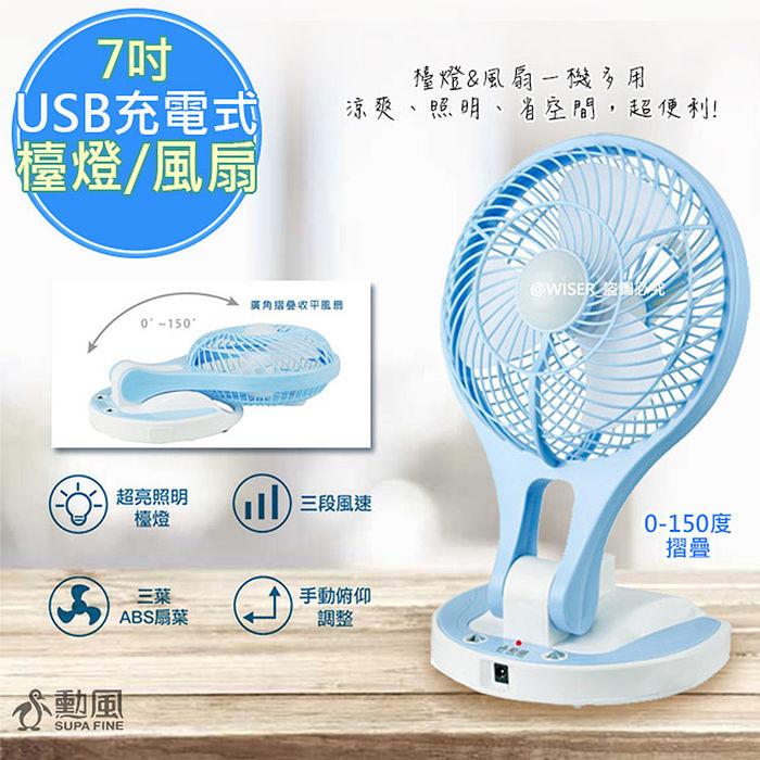 【勳風】7吋充電式行動風扇/檯燈扇/DC扇(HF-B066U)鋰電/快充/長效-特賣