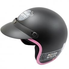 黑色kitty半罩式安全帽加贈強化抗uv短鏡片贈6入安全帽內襯套