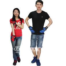 omax全功能防曬透氣全指手套-男藍色+女紅色(2雙組合)