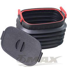 OMAX多用途摺疊伸縮收納桶-1入贈超值魔術頭巾-5入-顏色隨機