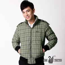 【遊遍天下】JIS90%羽絨耐寒保暖連帽防風防潑水外套A008軍綠格