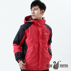 【遊遍天下】GlobeTex男款JIS90%羽絨禦寒防水貼條羽絨外套A026紅色