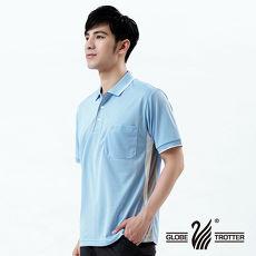 【遊遍天下】MIT台灣製男款抗UV涼爽吸濕排汗機能POLO衫S140水藍