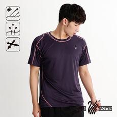 【遊遍天下】MIT男款抗UV吸濕排汗彈力圓領衫S151深紫