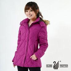 【遊遍天下】女款JIS90%羽絨防風防潑水菱格保暖羽絨外套A063玫紫