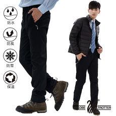 【遊遍天下】男款3D顯瘦防水防風禦寒刷毛褲(雪褲)GP20003黑色