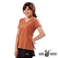 【遊遍天下】女款透氣吸排抗UV速乾V領衫GS20006桔色