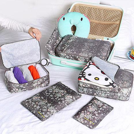 【韓版】420D加密防水小清新印花旅行收納6件套組(4色)粉紅叢林