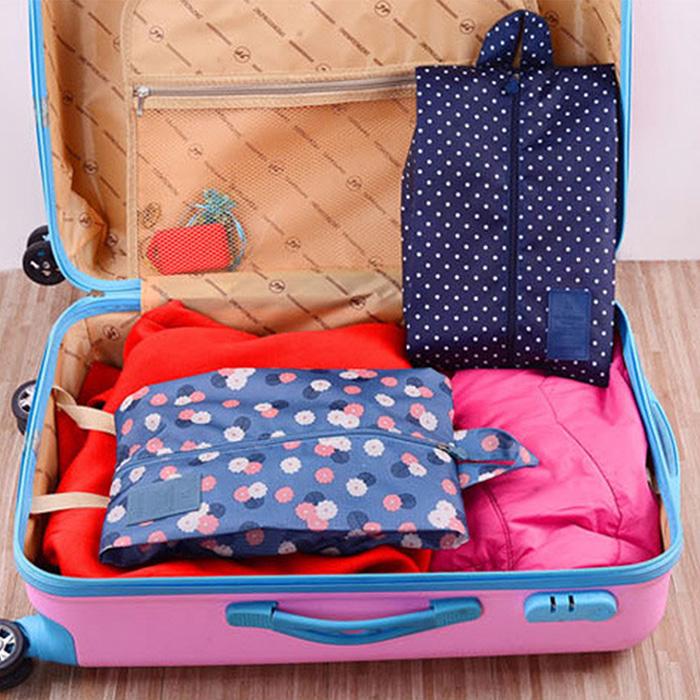 【韓版】印花款防潑水鞋袋/旅行收納袋(顏色隨機出貨)-加購