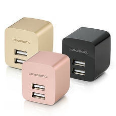 PROBOX 2.4A 雙輸出USB高性能充電器-香檳金