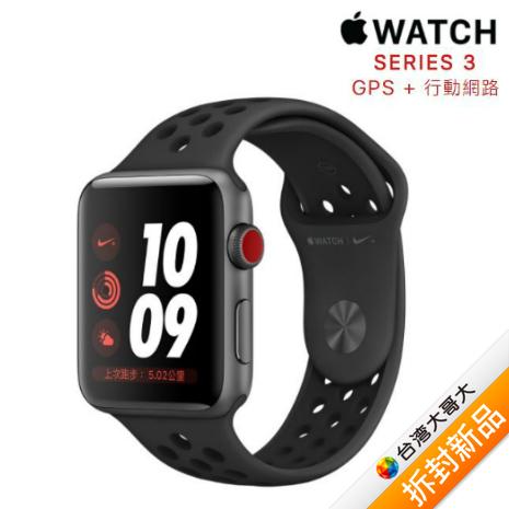 Apple Watch Nike+ GPS+行動網路 LTE 版 38mm 太空灰鋁金屬錶殼配上煤黑色黑色 Nike 運動錶帶【拆封新品】(福利品)