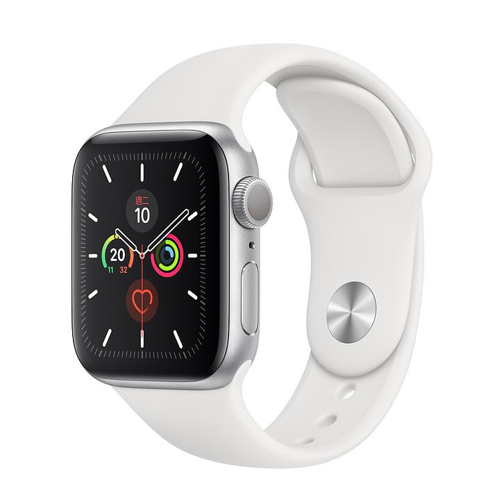 【降千】Apple Watch Series 5 GPS 版 40mm 銀色鋁金屬錶殼配白色運動錶帶 (MWV62TA/A)