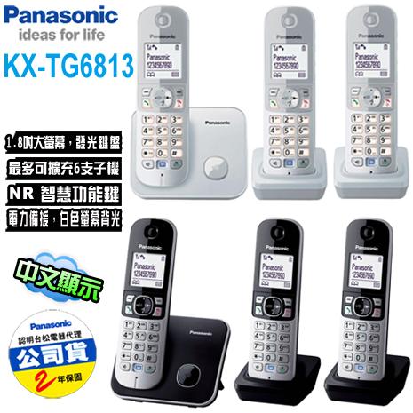 Panasonic國際牌 DECT數位無線電話(KX-TG6813)銀/黑色*送裸裝拭鏡布