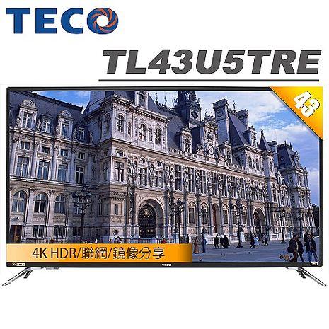 TECO東元 43吋 4K HDR連網液晶顯示器+視訊盒(TL43U5TRE)【電視特賣】