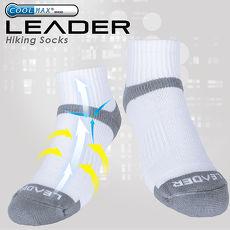 LEADER COOLMAX除臭機能運動襪 男款  白灰