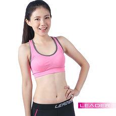 【Leader】女性專用 機能壓縮可拆胸墊運動背心(桃粉紅)