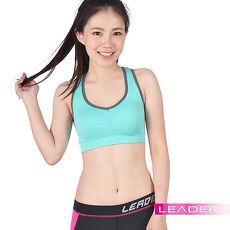 【Leader】女性專用 機能壓縮可拆胸墊運動背心(亮綠色)