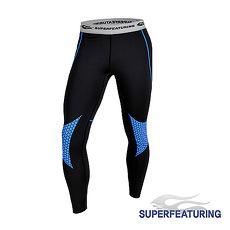 【SUPERFEATURING】專業跑步 三鐵 Hicolor運動壓縮緊身褲 (亮藍)