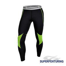 【SUPERFEATURING】專業跑步 三鐵 Hicolor運動壓縮緊身褲 (亮綠)