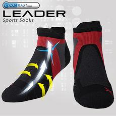 LEADER ST-02 X型繃帶 加厚耐磨避震短襪 機能除臭運動襪 男款 黑紅