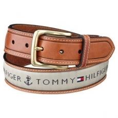 Tommy Hilfiger 2012男時尚織帶鑲嵌棕色皮帶★預購38