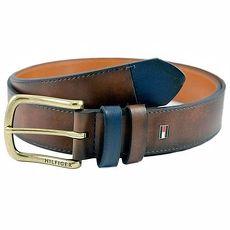 Tommy Hilfiger 2014男時尚對比色腰環棕色皮帶★預購40