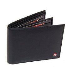【Alpine Swiss】瑞士十字標記旅行風格黑色真皮皮夾 ★預購