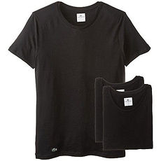 【Lacoste】2015男時尚純棉彈性黑色圓領短袖內衣3件組★預購