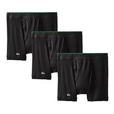 【Lacoste】2015男時尚黑色修飾四角內著3件組★預購