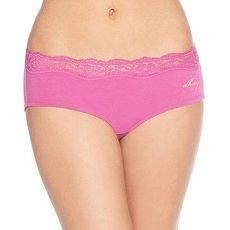 DKNY 2016女精緻蕾絲花邊棉蘭花粉色三角內著3件組★預購M