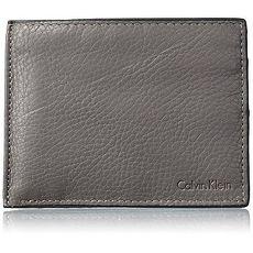 【Calvin Klein】2017男時尚雙折灰色皮夾組★預購