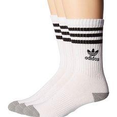 【Adidas】2018學生時尚白色條紋中筒運動襪3入組★預購