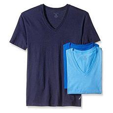 NAUTICA 2018男時尚藍色系V領短袖內衣混搭3件組★預購M