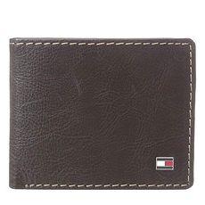 Tommy Hilfiger 2018男時尚Logan對比縫線標牌深棕色雙折皮夾★預購