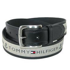 Tommy Hilfiger 2018男時尚灰織帶鑲嵌黑色皮帶★預購38